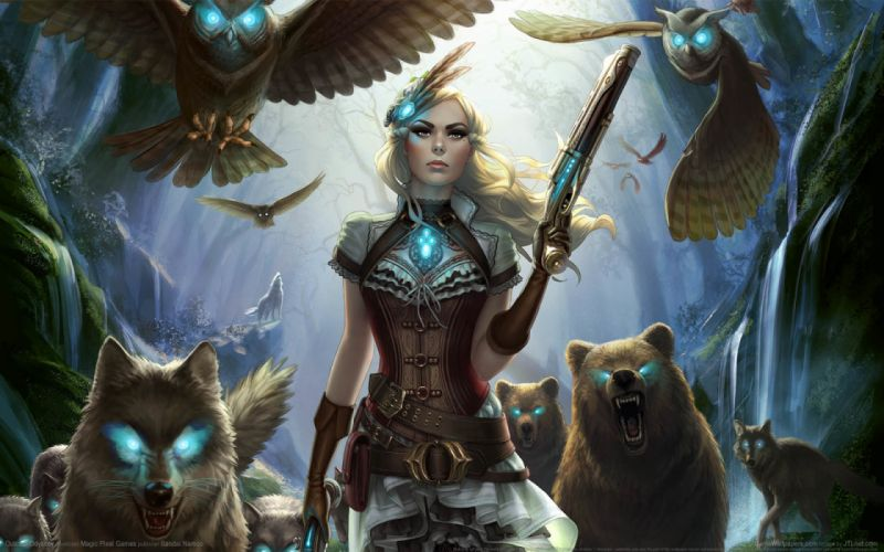 fantasy woman weapon animals wallpaper