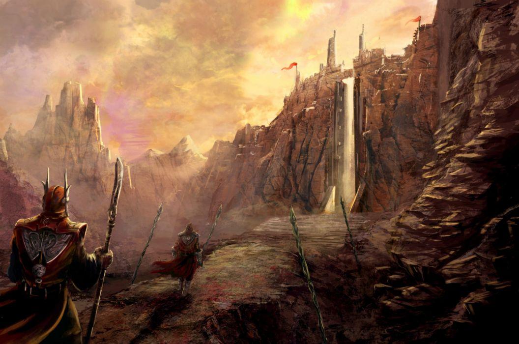 fantasy warrior male door wallpaper