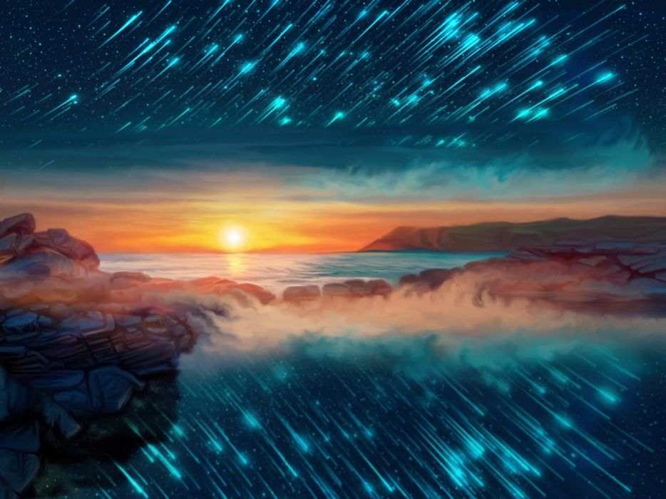 fantasy sun stars landscape wallpaper