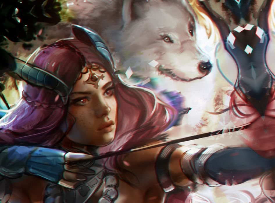 fantasy woman face beautiful wolf pink hair wallpaper