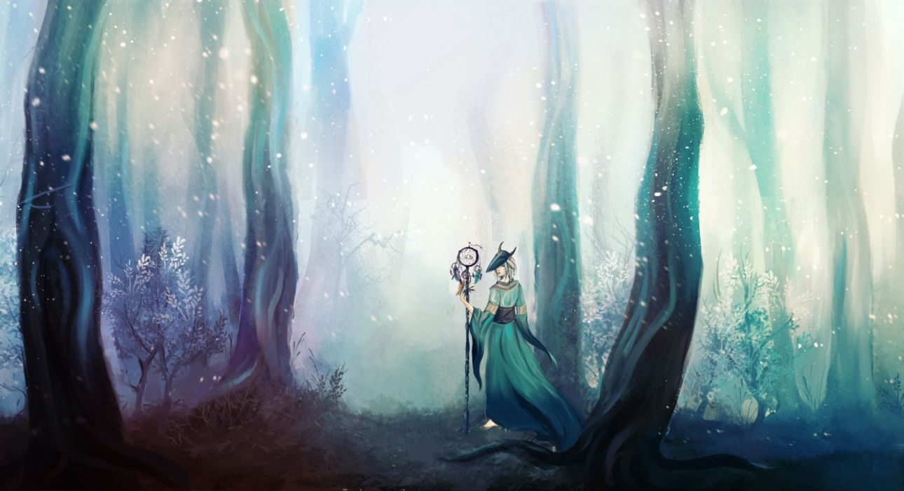 forest fantasy woman tree witch wallpaper