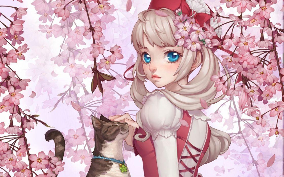 girls animals cats manga objects flowers wallpaper