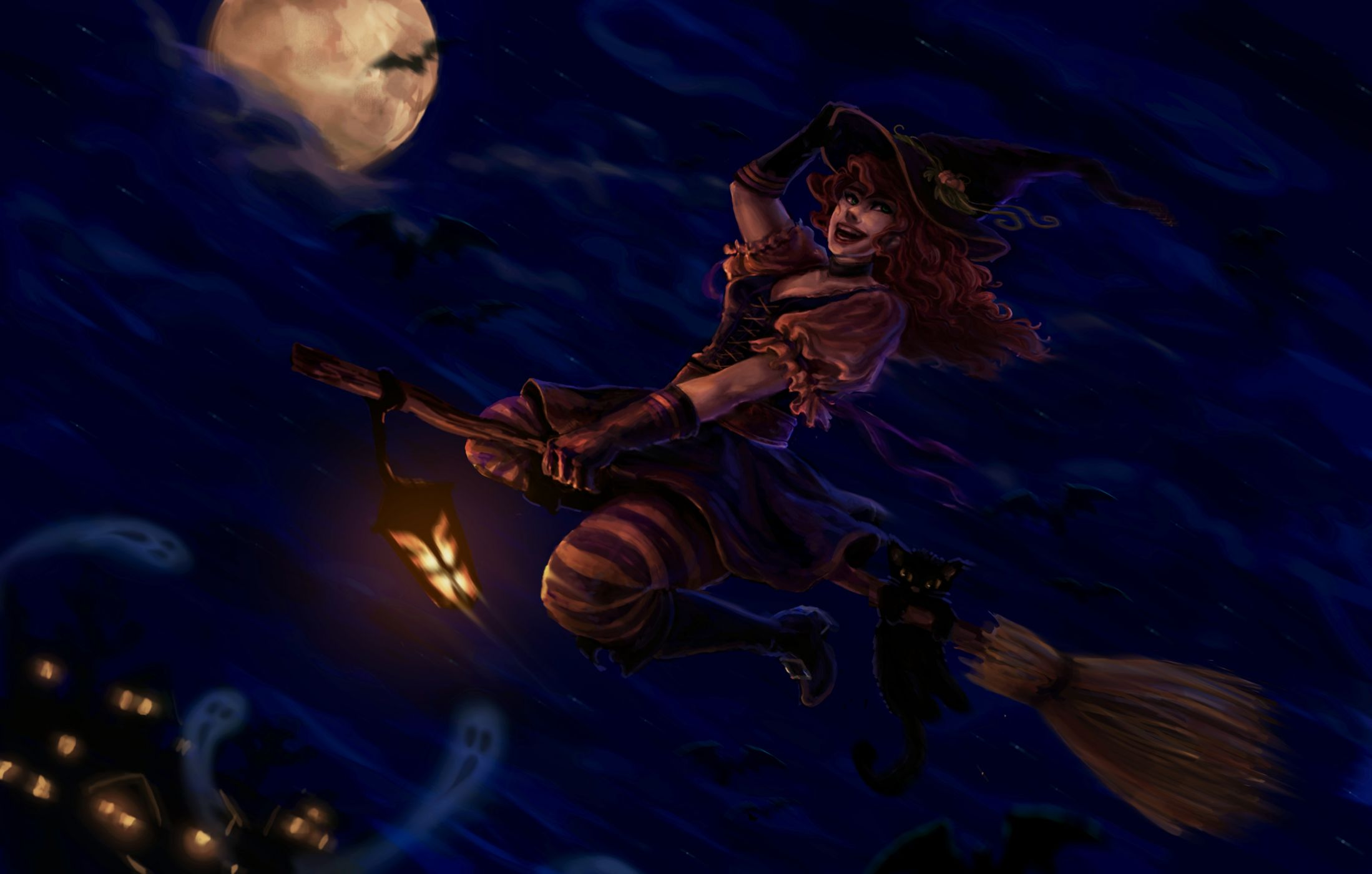 Смешные, картинки ведьма на метле с котом