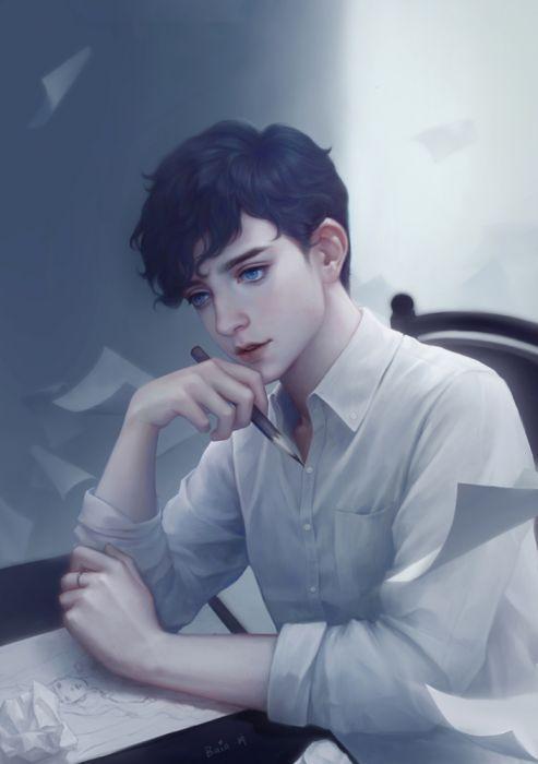 blue eyes male drawing fantasy cute wallpaper