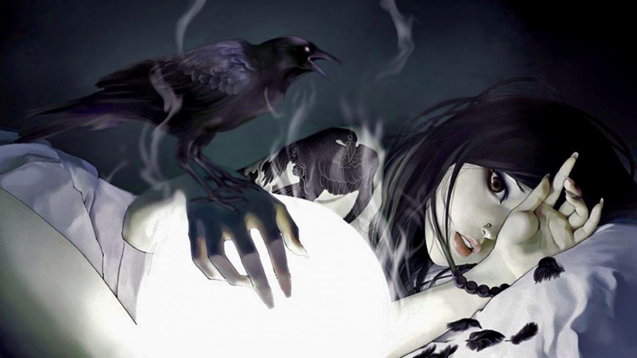 anime girls smoke interior magic birds fantasy wallpaper