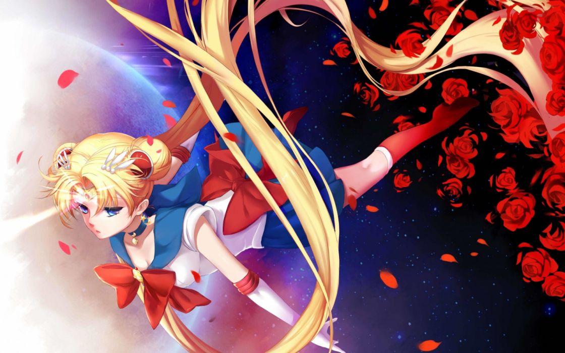 anime girls space leaves magic fantasy flowers sailormoon usagi wallpaper