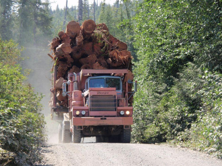 camion viejo cargado troncos wallpaper