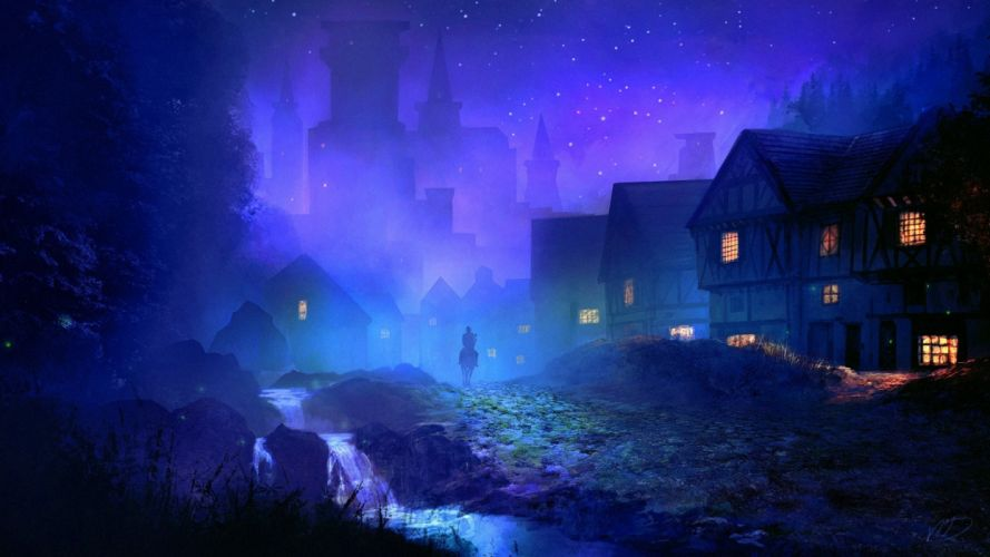city houses horses people sky night nature figures wallpaper