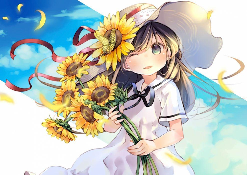 children summer manga sky objects drawings flowers wallpaper