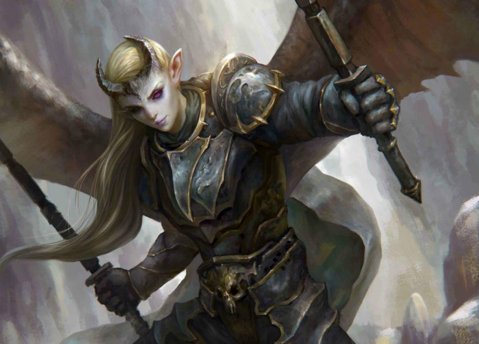 elf demon fantasy wings male wallpaper