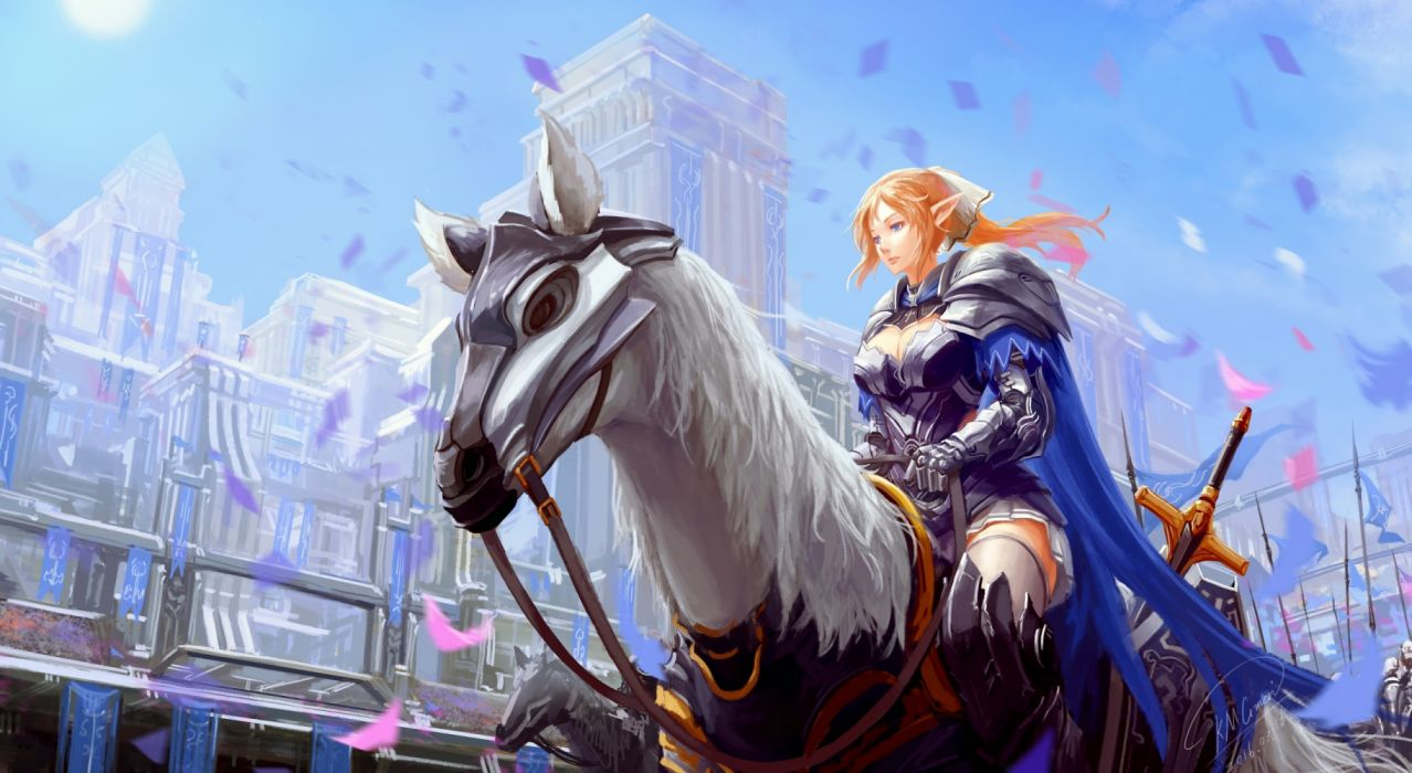city girls horses military sky drawings fantasy widescreen elves wallpaper