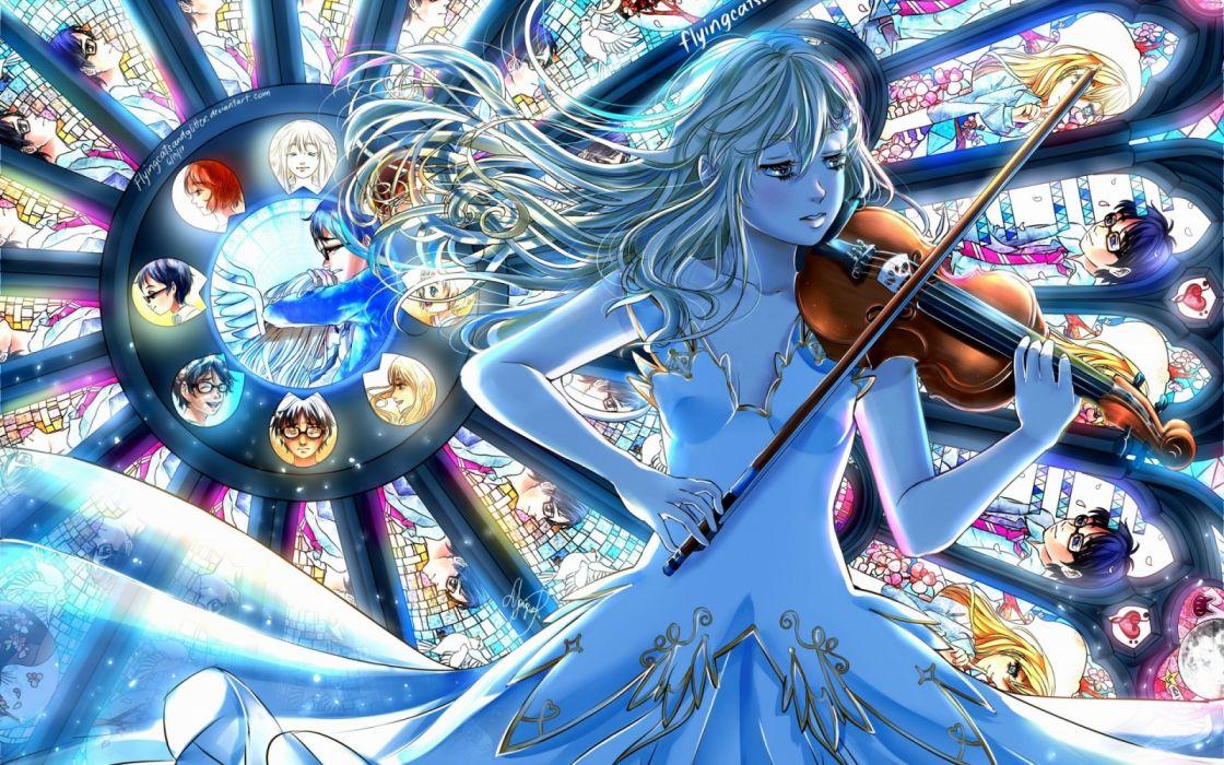 anime girls men music objects wallpaper