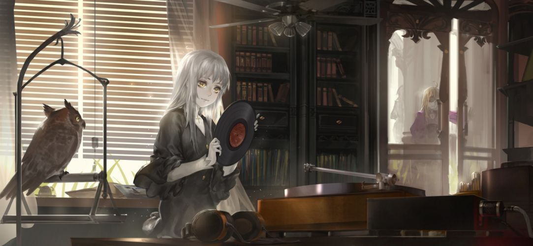 anime girls interior music objects birds drawings hands wallpaper