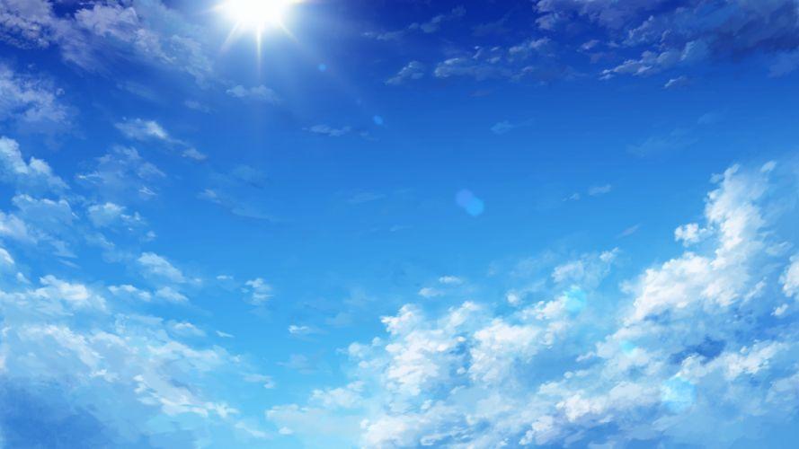 anime sky landscape clouds sun wallpaper