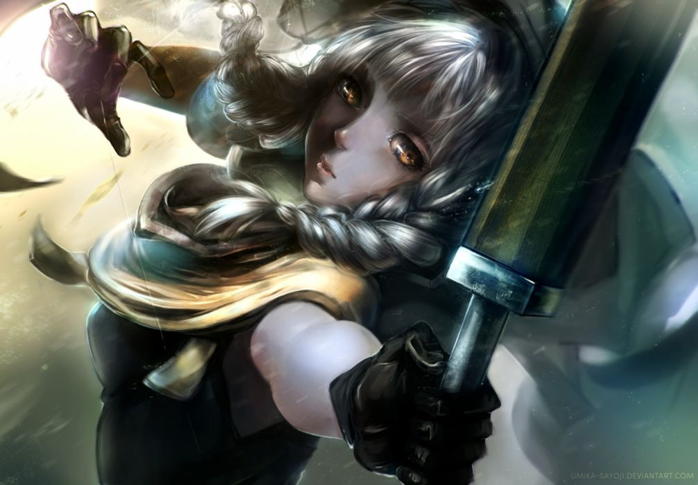 anime girl sword warrior yellow eyes wallpaper