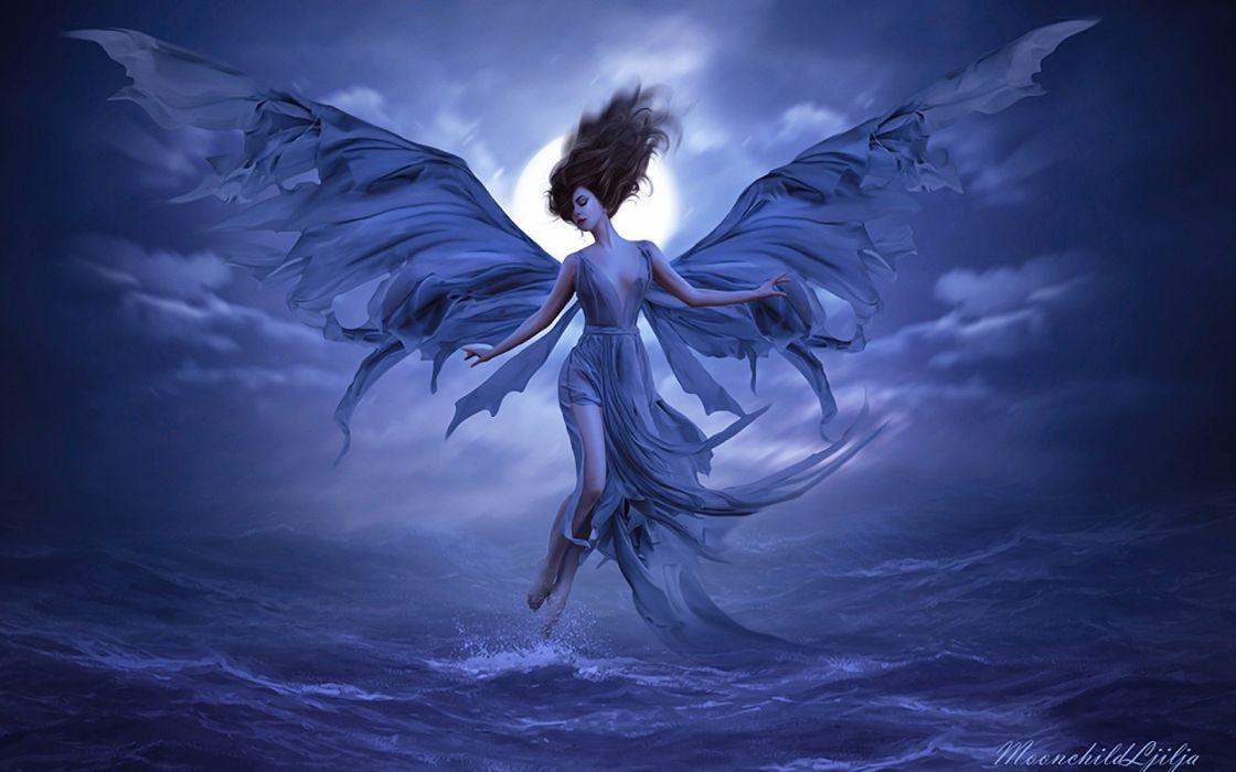 angels water girls moon sky fantasy wallpaper