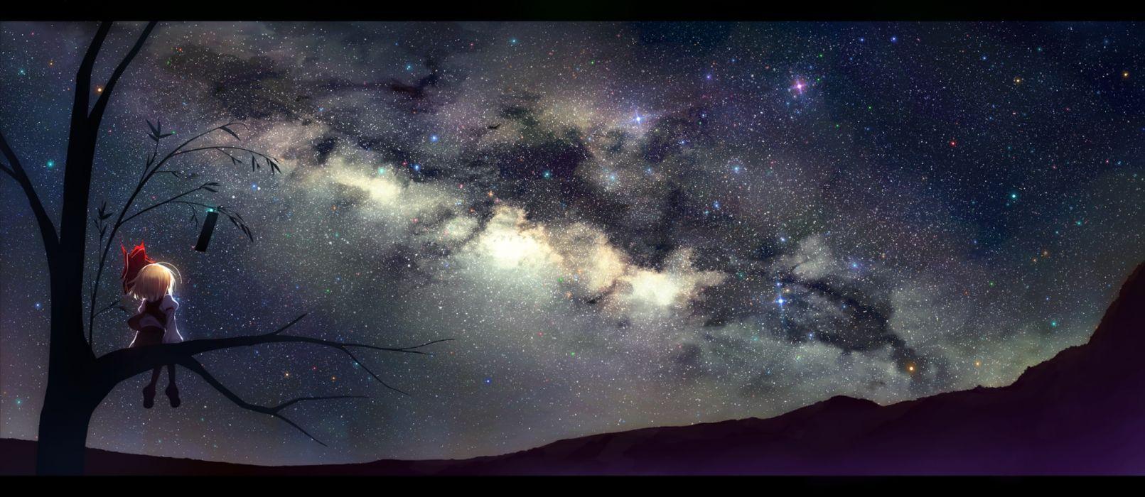 anime girl sky stars wallpaper