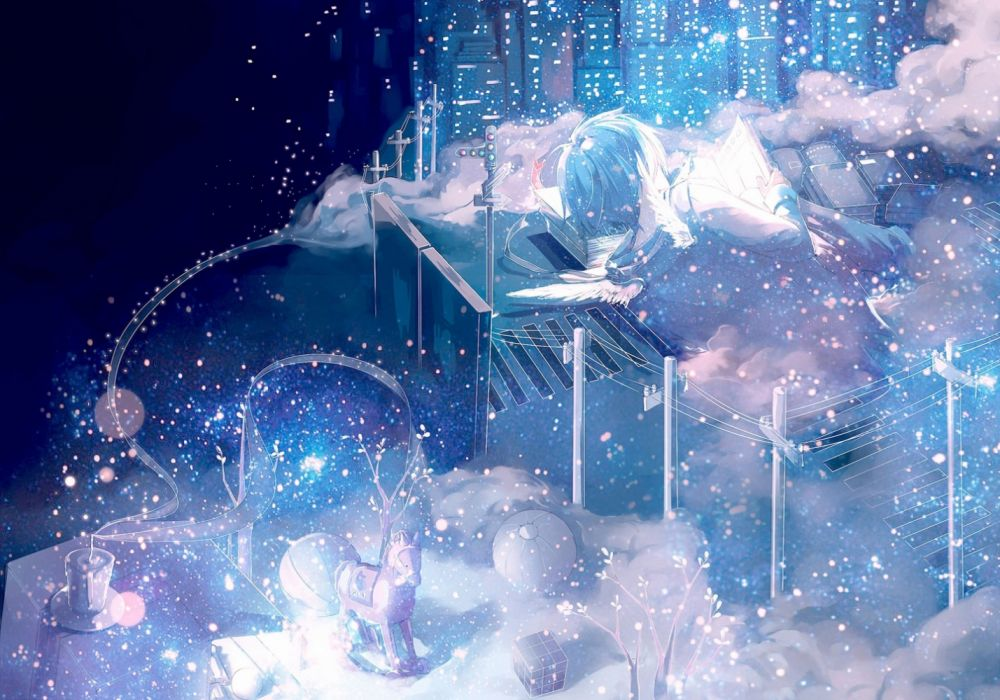 angels trees roads winter manga sky night objects widescreen wallpaper