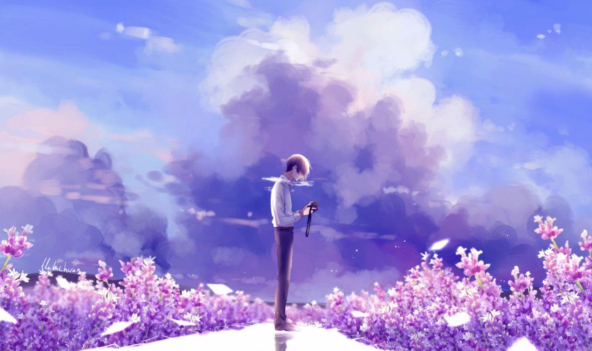 anime original boy foto sky clouds wallpaper