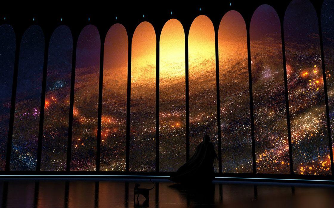 animals interior space cats men sky drawings wallpaper