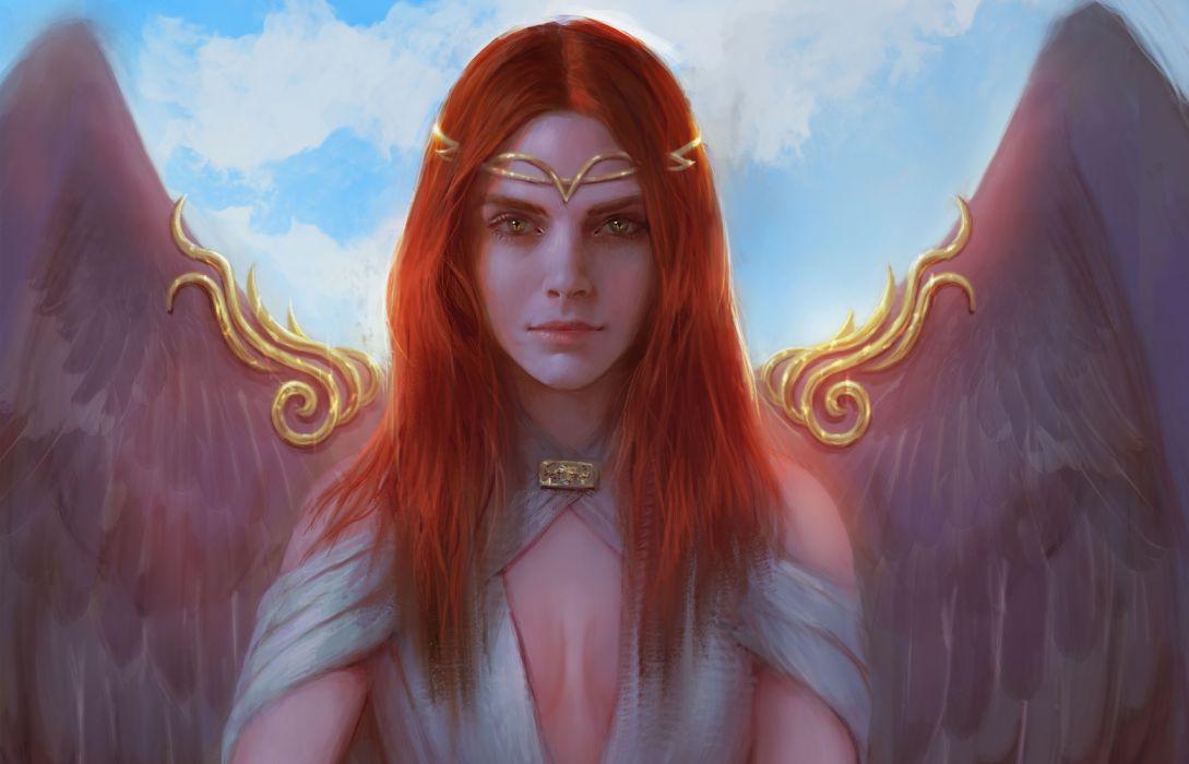 angels girls sky objects drawings fantasy wallpaper