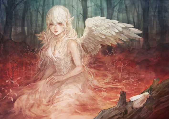 angels sad girls beautiful forest insects nature fantasy wallpaper