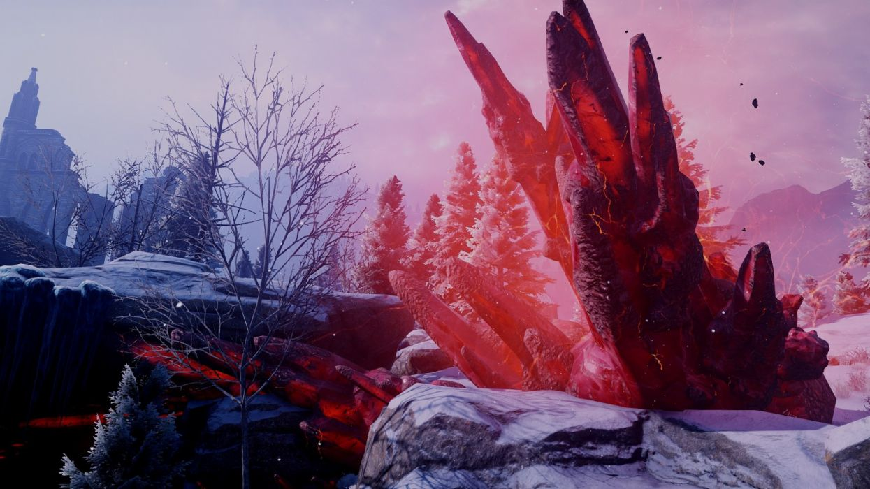 3d graphics trees winter game sky nature snow fantasy wallpaper