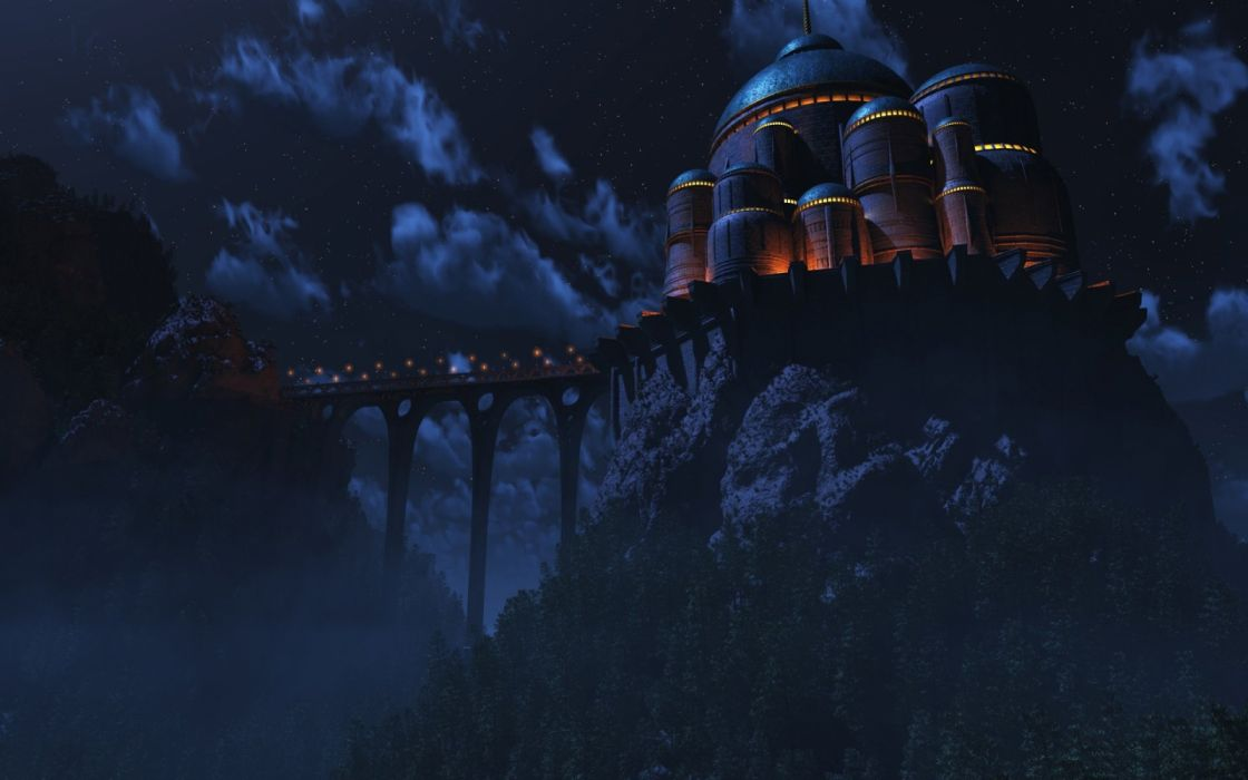 3d graphics city mountains bridges sky night fantasy wallpaper
