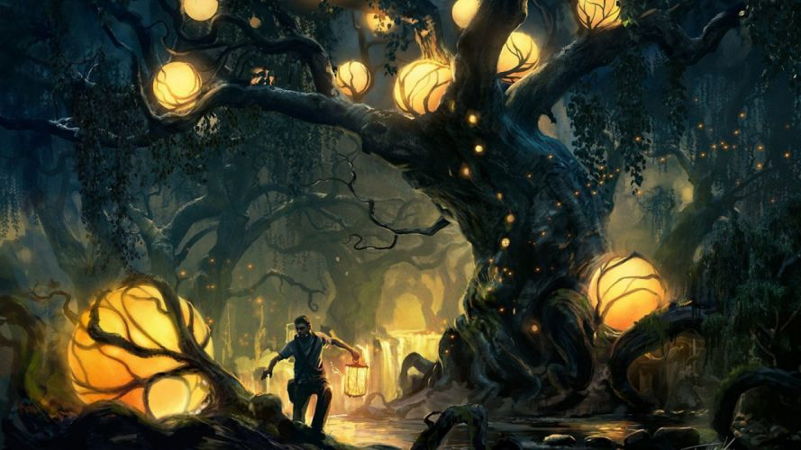 water trees forest men night nature figures fantasy wallpaper