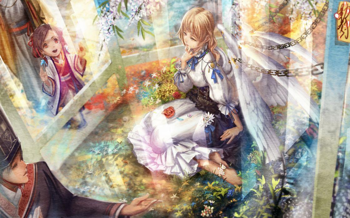 angels girls children interior manga men fantasy flowers wallpaper