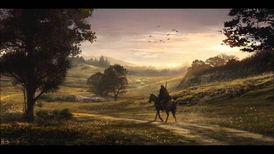 trees road animals horses men sky nature figures wallpaper