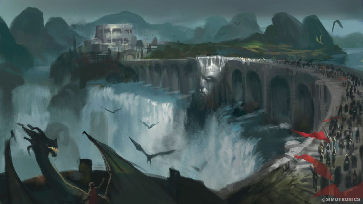 water dragons people military bridges drawings fantasy widescreen wallpaper