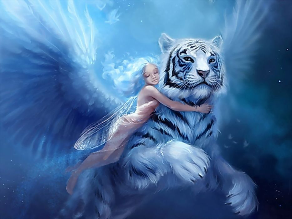 angels children animals drawings tigers fantasy wallpaper