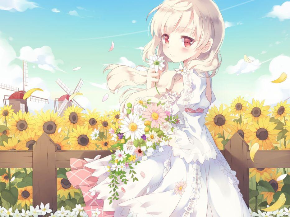 girls houses manga sky nature flowers wallpaper
