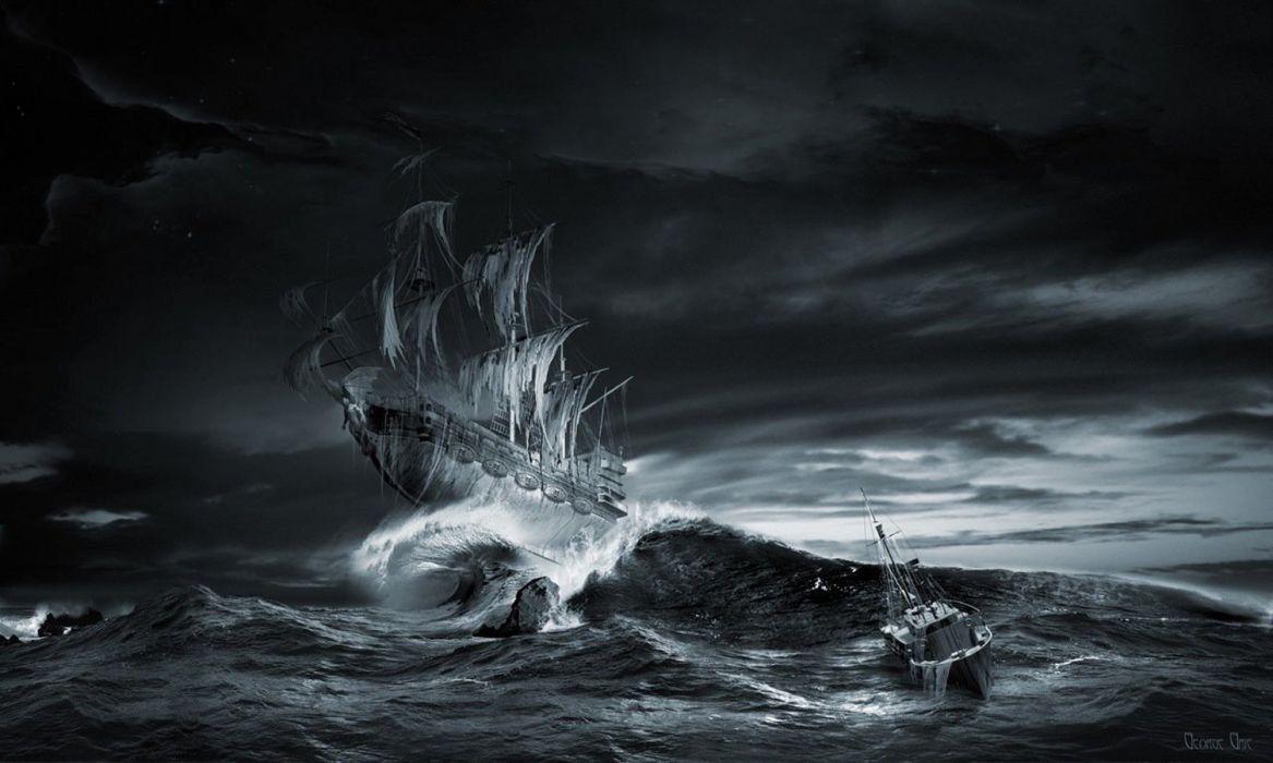 ships sea sky night nature fantasy wallpaper