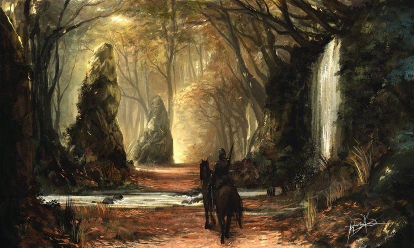 water trees forest horses men nature fantasy widescreen wallpaper