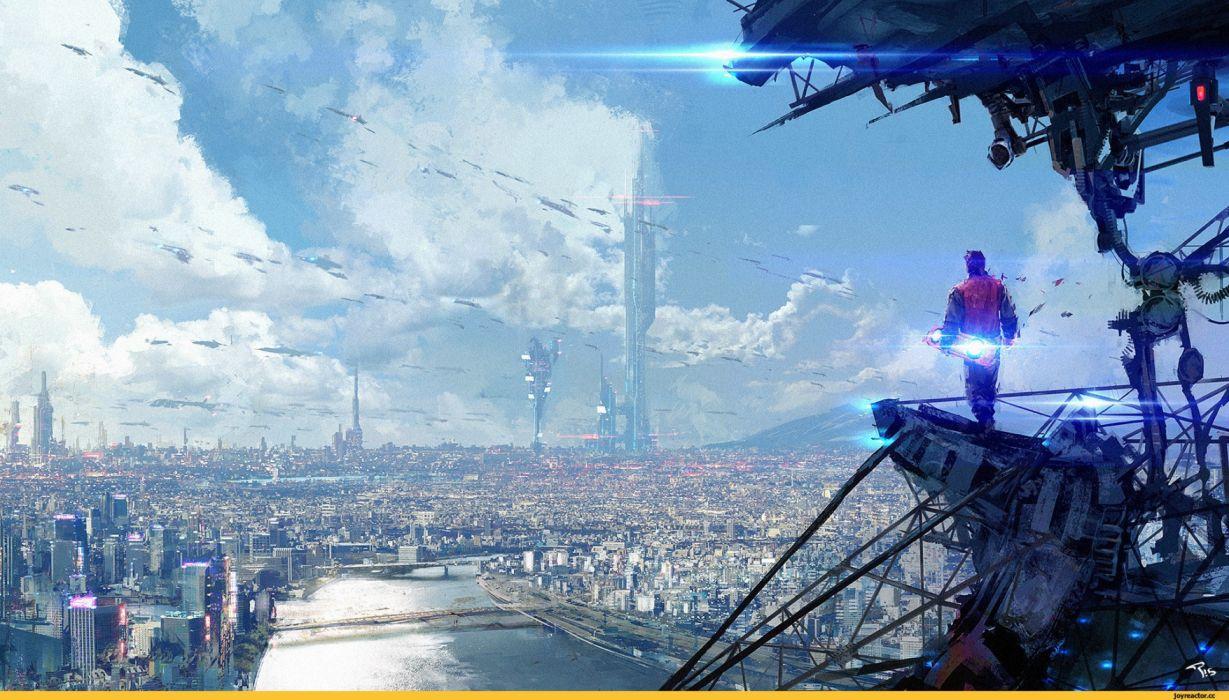 ciudad alienigena abstracto sci-fi wallpaper