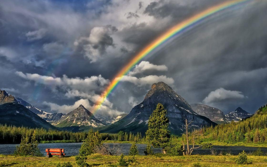 arco iris naturaleza lago montay wallpaper