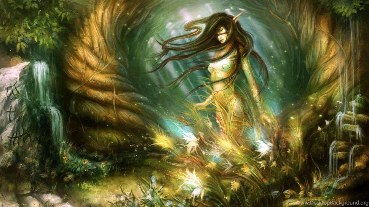 fantasia mujer elfo bosque wallpaper