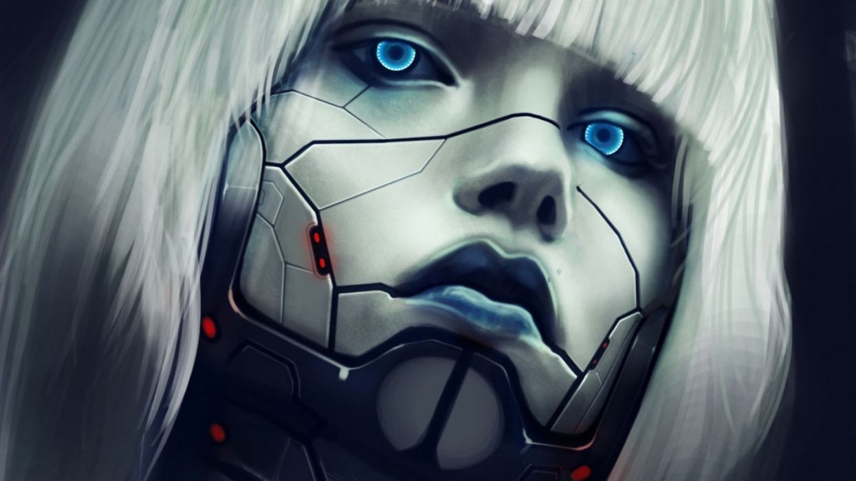 cyborg girl abstracto sci-fi wallpaper