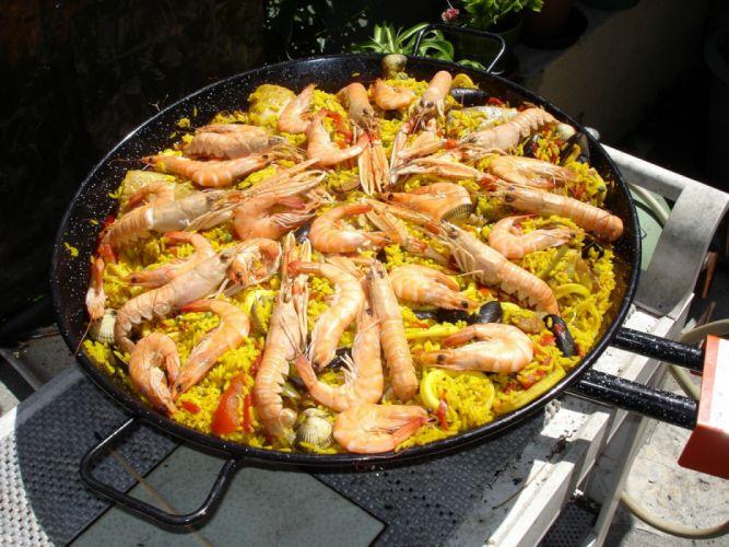 paella valenciana marisco arroz wallpaper