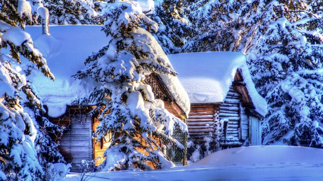 paisaje casa nieve arboles naturaleza wallpaper