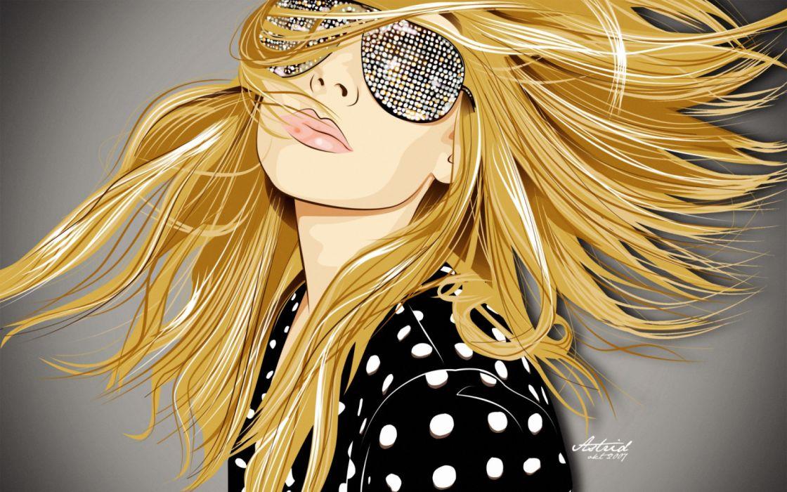 mujer rubia gafas abstracto vector wallpaper
