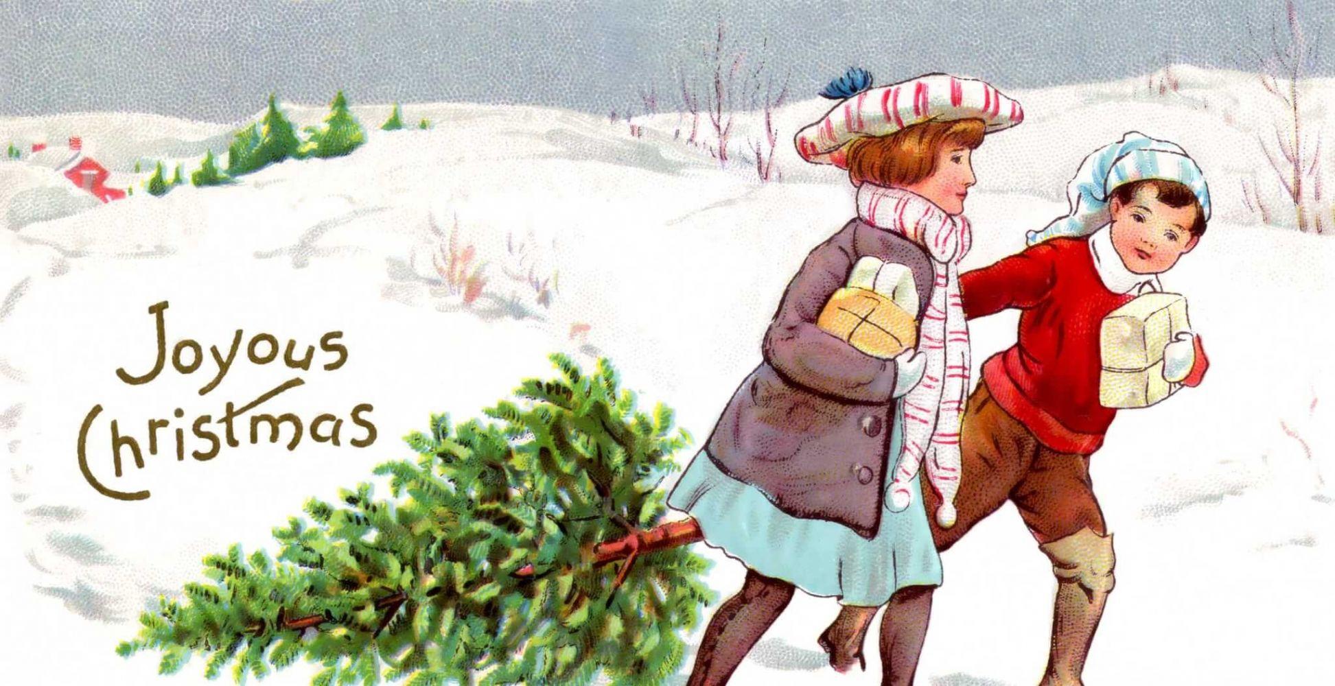 Открытка на новый год на англ, днем
