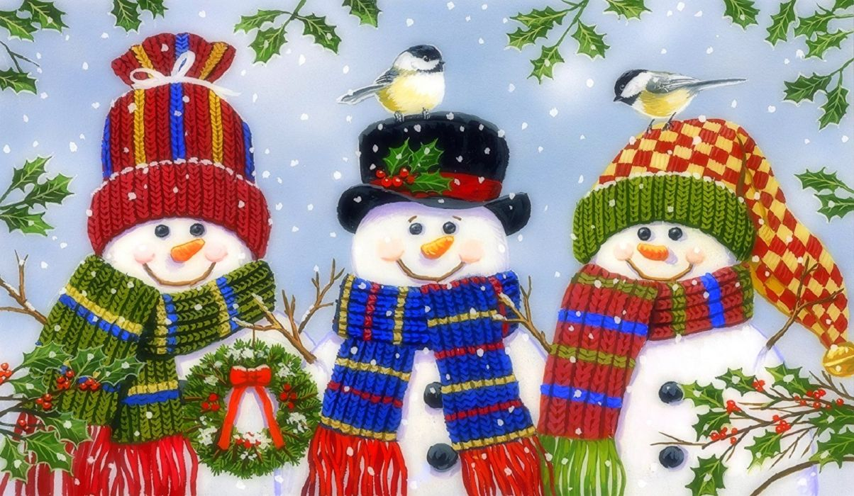 Snowman Trio wallpaper