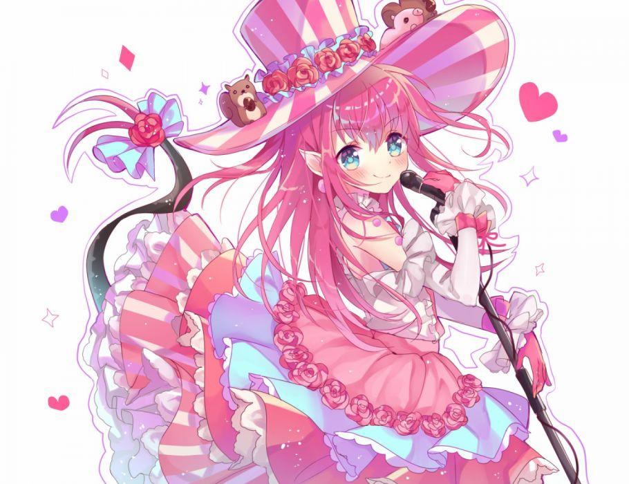 Konachan com - 256180 aqua eyes fate grand order fate (series) flowers gloves hat long hair microphone pink hair pointed ears tail takoyaki hika white wallpaper