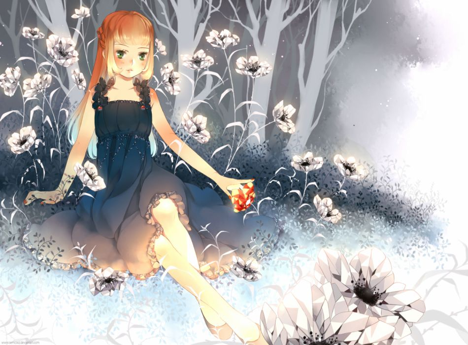 Konachan com - 255896 braids dress flowers green eyes long hair orange hair semcool summer dress tree watermark wallpaper