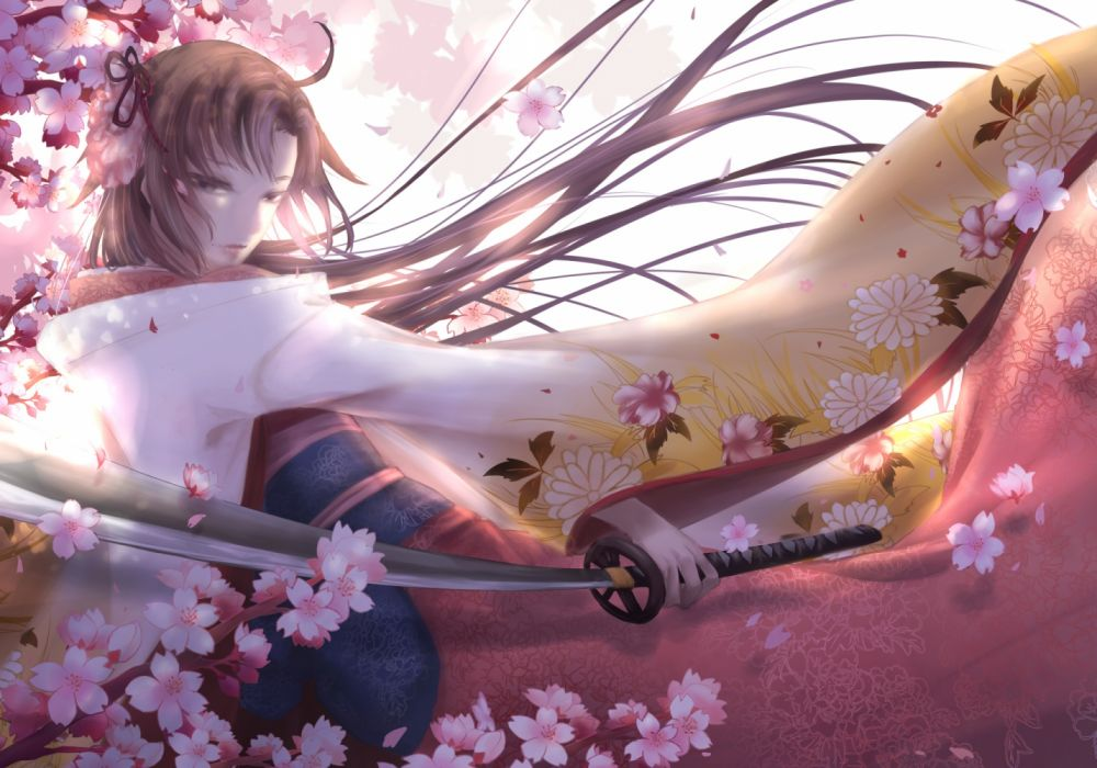 Konachan com - 255851 brown eyes brown hair cherry blossoms fate (series) flowers kara no kyoukai katana kimono long hair ryougi shiki sword tagme (artist) weapon wallpaper