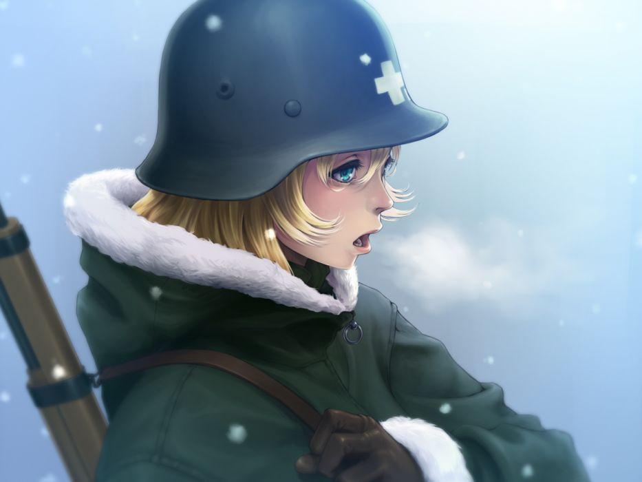 Konachan com - 255729 aqua eyes blonde hair fool (fuckinfool) gloves gun hat military short hair shoujo shuumatsu ryoukou snow uniform weapon yuuri wallpaper