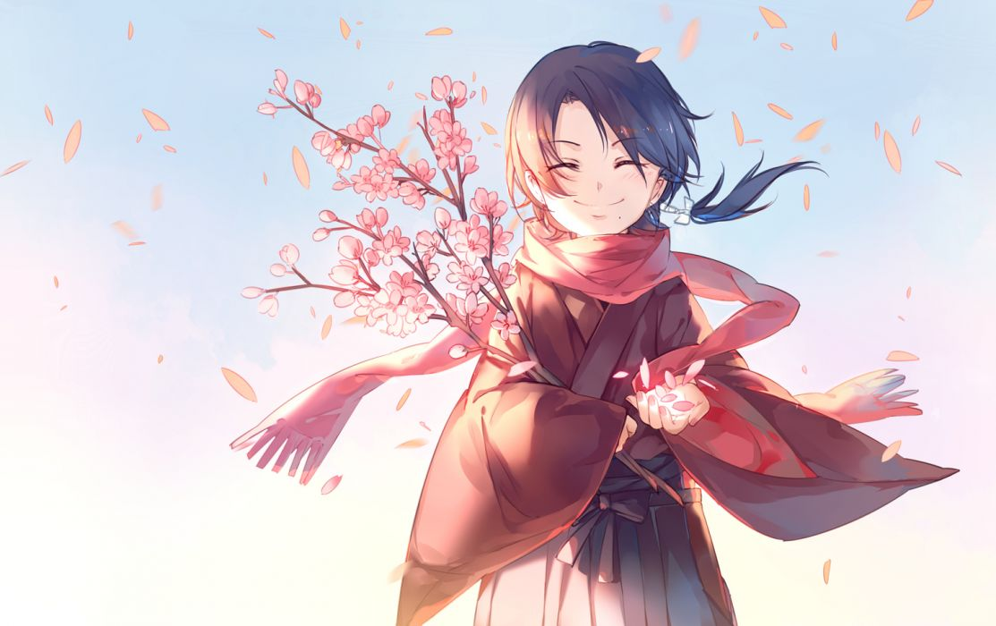 Konachan com - 255652 all male anthropomorphism brown hair cherry blossoms flowers gradient instockee kashuu kiyomitsu male petals ponytail scarf short hair touken ranbu wallpaper